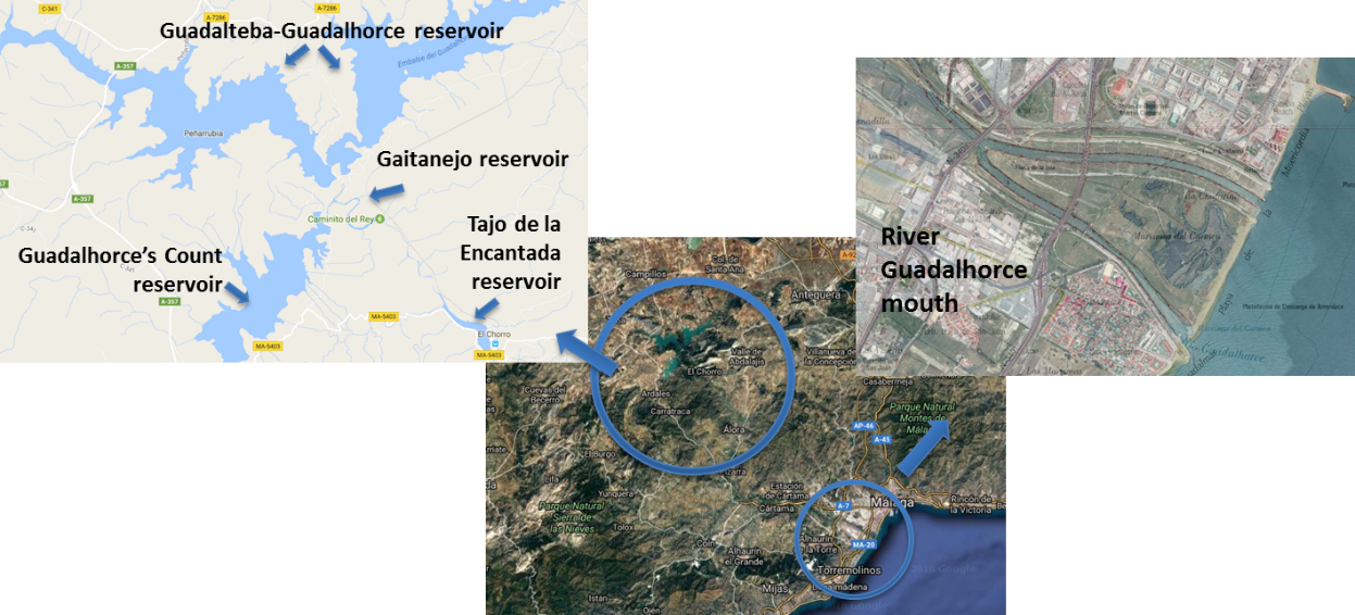 Maps showing River Guadalhorce reservoirs.