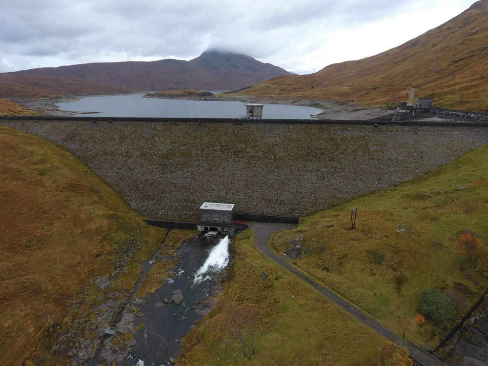 Aerial photo of Quoich Dam taken from the drone