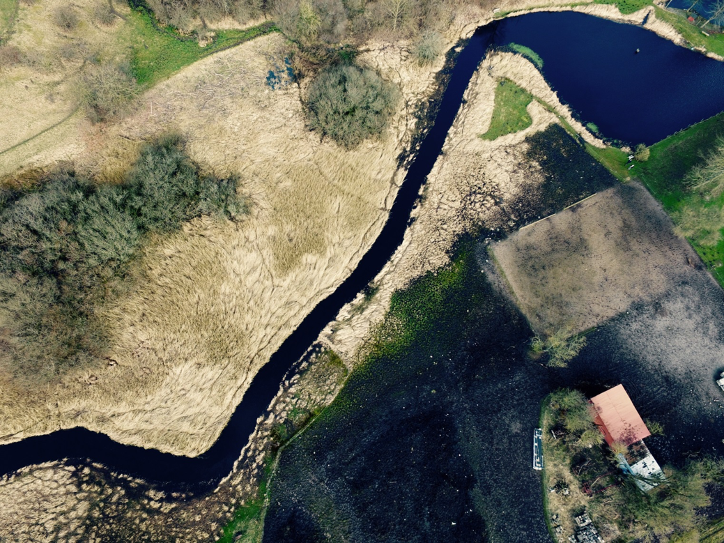 River Binderup, Northern Jutland, Denmark (picture of ponded zone from drone, and weir which has yet to be removed)